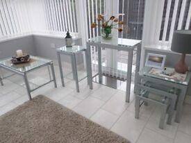 glass table set.