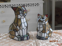 Can also Send: NEW Set of 2 Tiffany Style Stained Glass Cat & Kittten Large Lamps 28cm & 21cm.