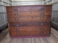 Original Vintage Dark Wood A1 Plans Chest