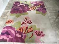Sanderson 100% Wool Rug Floral Colourful Thick 170cm x 240cm Purple Green Orange