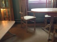 Limed oak dining table, chairs, coffee table and display cabinet in Malmesbury N. Wilts
