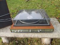Genuine 1970's record player and speakers