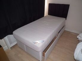 Single Bed and Headboard with Memory Foam Mattress