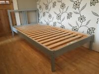 IKEA FJELLSE SINGLE PINE BED FRAME WITH BLUE/SILVER PAINT FINISH