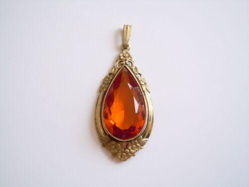 Beautiful Oresto Nouveau Pendant With Leuchtend-Honigfarbenem Color Stone 0.4oz