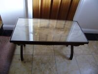 Coffee table, antique, solid wallnut, protective glass on top, VGC, very unique