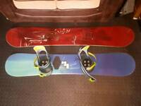 2x Snowboards. 2x Bindings and Bag