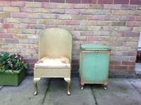 ANTIQUE CHAIR AND MATCHING SIDE UNIT