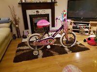 "16"" girls pink bike with helmet"