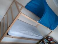 Ikea reversible pine kura cabin bed with blue bed tent tunnel