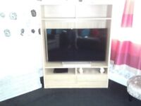 light pine tv unit and cabinet with two draws