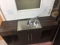 Long Sink Units Walnut/Chrome