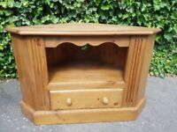Solid Pine TV Unit with Drawer