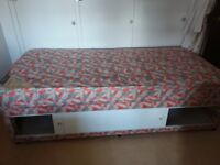 Single wood frame bed base with great storage and mattress (if required)