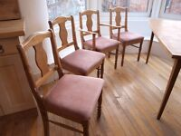 4 upholstered pine dining chairs, solid wood, £1. today only !!