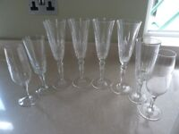 8 CHAMPAGNE FLUTES VARIOUS DESIGNS