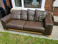 Brown Leather Sofa and Chair FREE DELIVERY