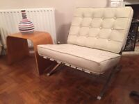 Retro White Leather Barcelona Chair