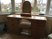 Dressing table. Pine with stool and mirror 6 drawers
