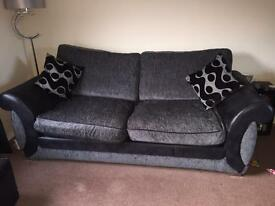 Black / Grey Sofas and Swivel Chair