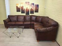 Warm Brown Leather Corner Sofa
