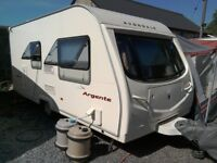 2007 Avondale Argente 480-2, 2 berth caravan with awning and starter kit.
