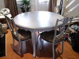Shabby chic round dining room table with four chairs