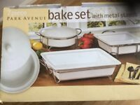 New packed 7 piece Bake Set with Metal Stand, never used