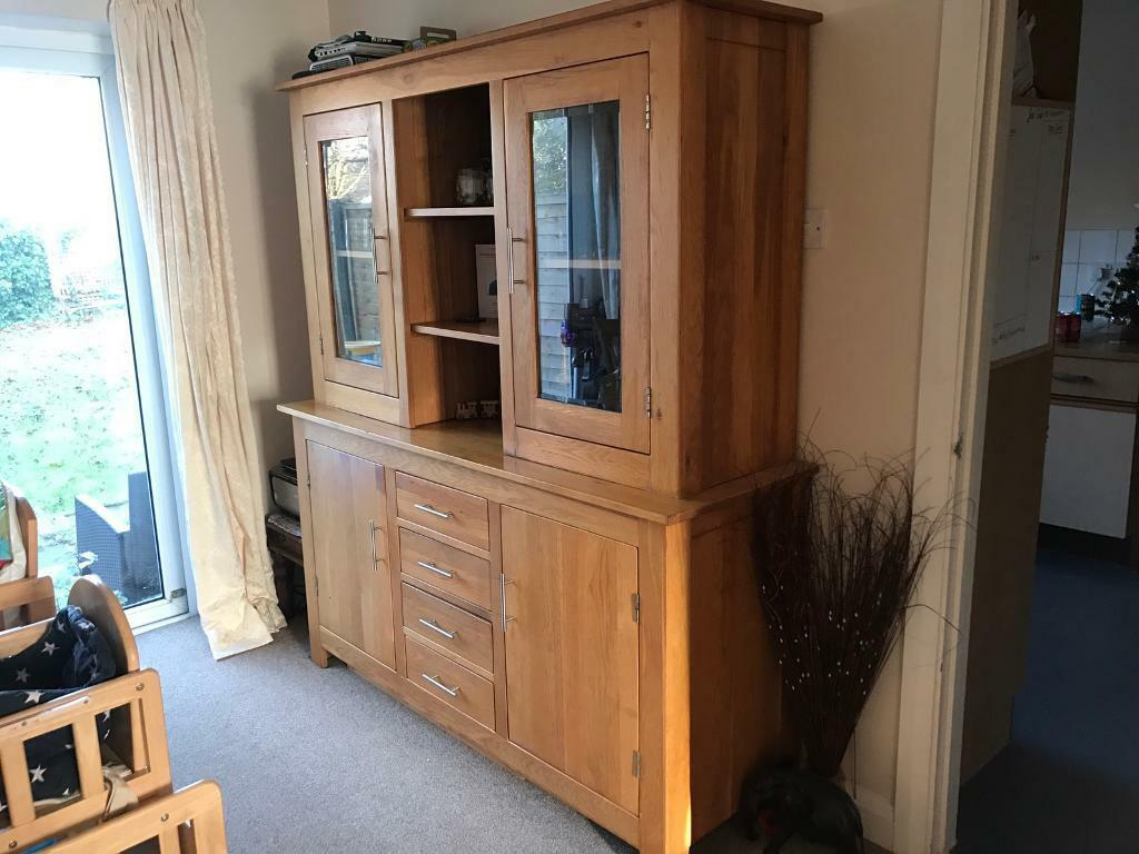 Solid Oak Wooden Glass Sideboard Dresser Storage Dining Room