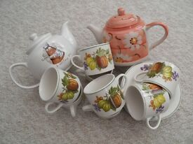 cups, saucers and teapots