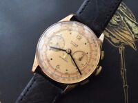 Beautiful Vintage 18ct 18k solid Rose Gold Chronographe Suisse Mens watch (chronograph)