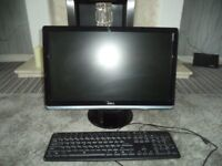 "Dell 21"" monitor and keyboard."
