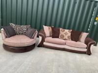 DFS large 3 seater sofa + swivel / cuddle chair Set £300 (Can Arrange Delivery)