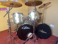 Drum kit- all cymbals are zildjan