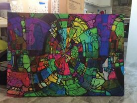 Large abstract bright colourful canvas