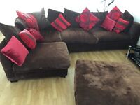 Brown and Red Brown Corner Sofa and large square footstool