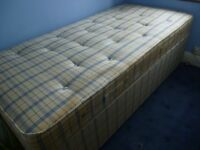 complete 3 feet single bed with base and mattress , good condition, can use for many many years,