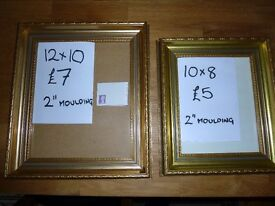 Large Moulding Gilt frames with Glass. prices and sizes as marked.