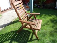 4 X HARDWOOD HIGH BACK MULTI POSITION GARDEN CHAIRS USED TWICE AS NEW WITH 2 FULL CUSHIONS
