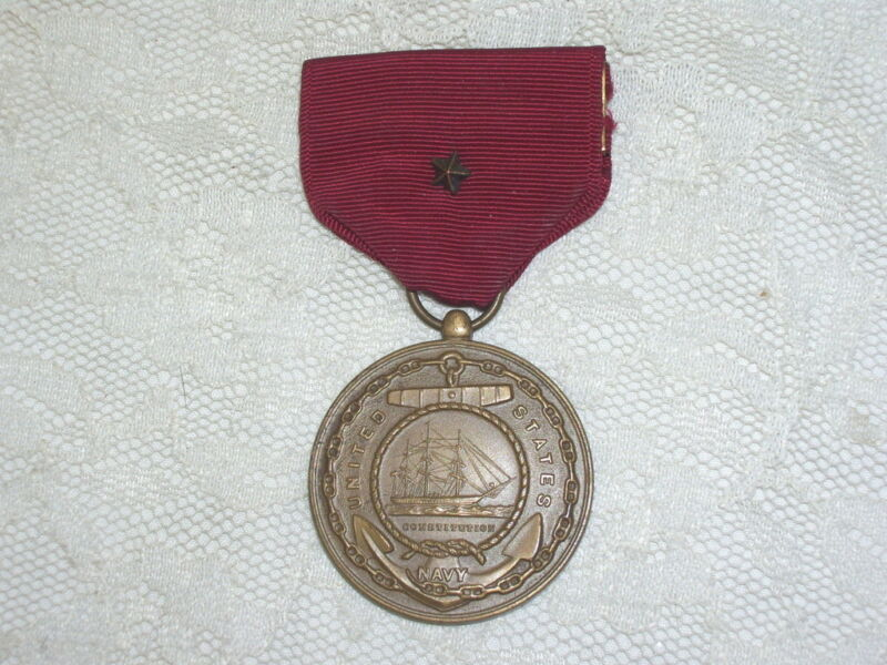ANTIQUE UNITED STATES NAVY MEDAL & RIBBON CONSTITUTION FEATURED