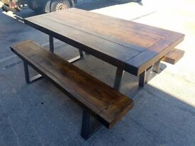 Hand made table and 2 bench set