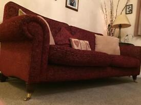 £125 LAURA ASHLEY 3 seater burgundy Floral Settee