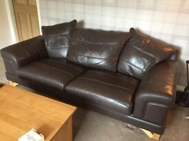 SOLD Brown leather sofa and arm chair (WELL USED)