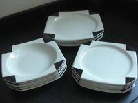 New Ikea White and Black 6 place Square Retro Style Crockery Set
