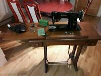 Vintage Singer Sewing machine with table and motor
