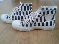 black and white stripe converse