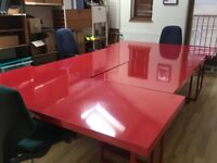 Stunning Red Gloss Habitat Manali Desks and Nic Trestles - 4 available