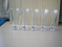 Five Tall Slim Drinking Glasses