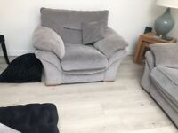 Three seater sofa arm chair and stool