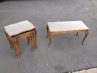 LOVELY SET OF GLASS TOPPED \ BURR WALNUT NEST OF TABLES & 3ft WIDE COFFEE TABLE ~~ GOOD CONDITION